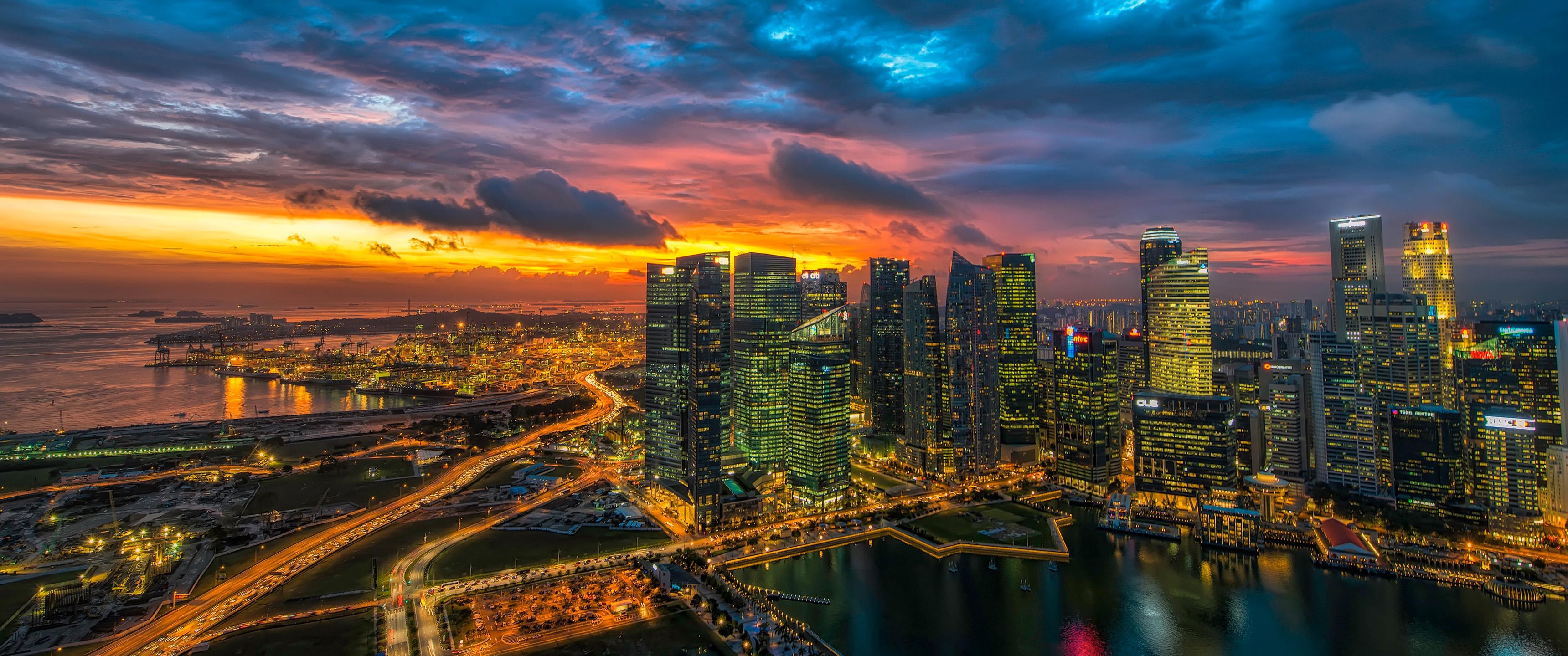 glowing singapore 21 9 wallpaper ultrawide monitor 21 9