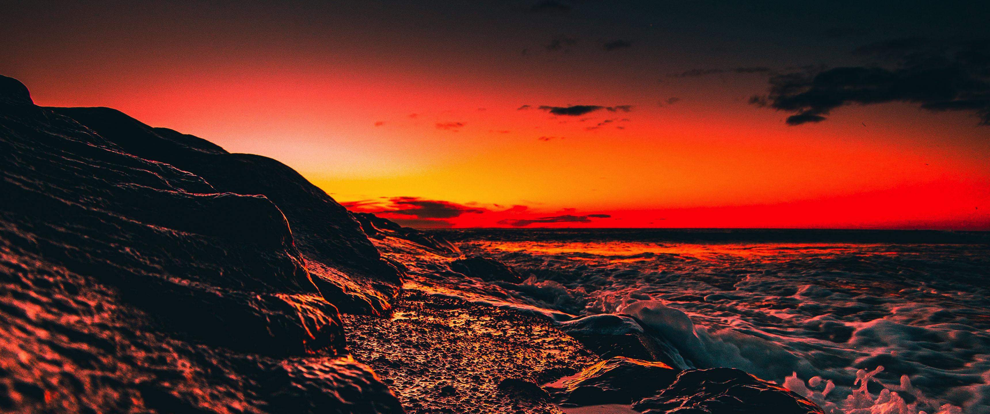 Sunset Waves 21:9 Wallpaper | Ultrawide Monitor 21:9 ...